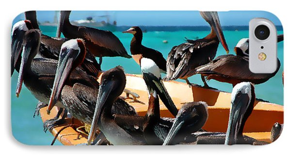 Pelicans On A Boat IPhone Case by Bibi Romer