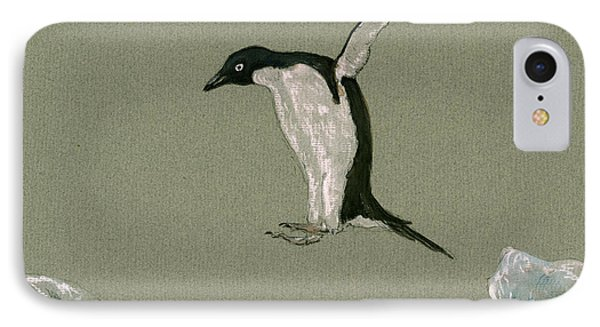 Penguin Jumping IPhone Case by Juan  Bosco