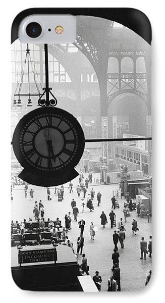 Penn Station Clock IPhone 7 Case by Van D Bucher and Photo Researchers