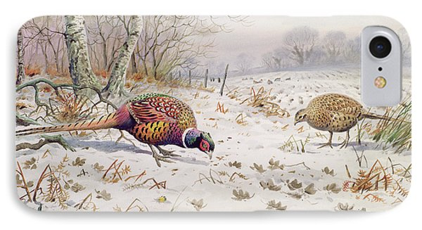 Pheasant And Partridge Eating  IPhone 7 Case by Carl Donner