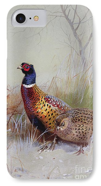 Pheasants In The Snow IPhone 7 Case by Archibald Thorburn