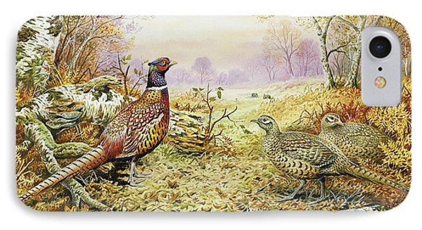 Pheasants In Woodland IPhone 7 Case by Carl Donner