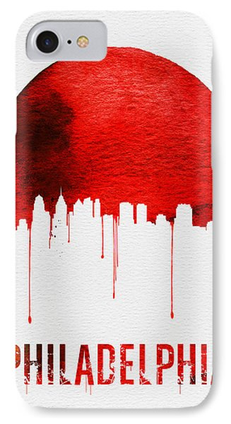 Philadelphia Skyline Redskyline Red IPhone Case by Naxart Studio