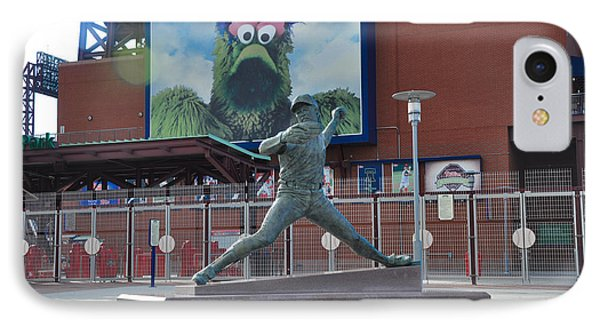 Phillies Steve Carlton Statue IPhone Case by Bill Cannon