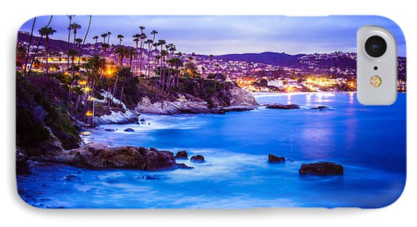 Picture Of Laguna Beach California City At Night IPhone Case by Paul Velgos