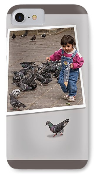 Pigeon Control Problem - Child Feeding Pigeons IPhone Case by Mitch Spence