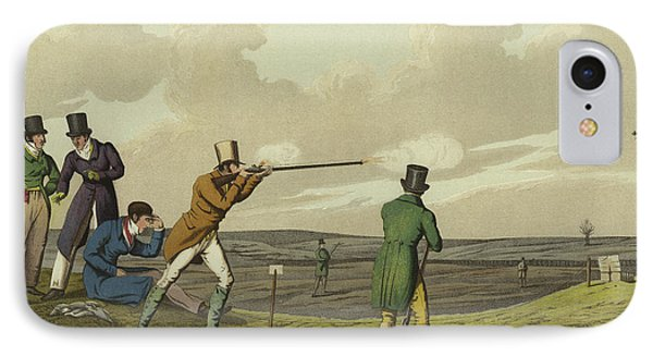 Pigeon Shooting IPhone 7 Case by Henry Thomas Alken