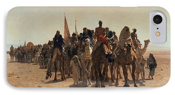 Pilgrims Going To Mecca IPhone Case by Leon Auguste Adolphe Belly
