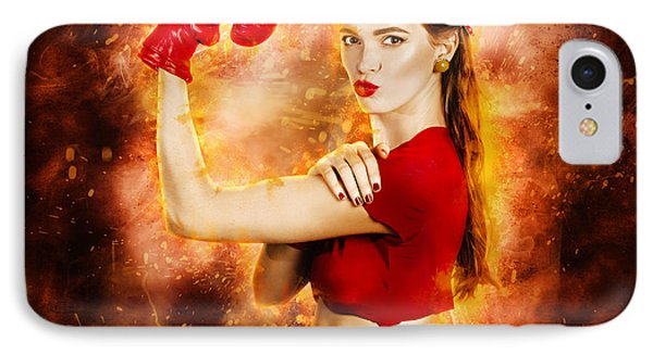 Pin Up Boxing Girl  IPhone Case by Jorgo Photography - Wall Art Gallery