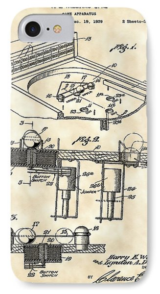 Pinball Machine Patent 1939 - Vintage IPhone 7 Case by Stephen Younts
