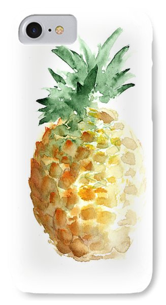 Pineapple Watercolor Minimalist Painting IPhone 7 Case by Joanna Szmerdt