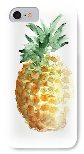 Pineapple Watercolor Minimalist Painting IPhone Case by Joanna Szmerdt