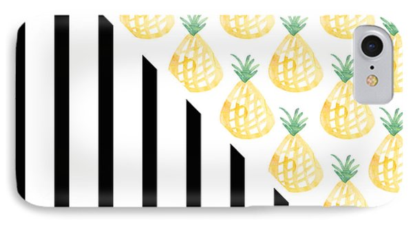 Pineapples And Stripes IPhone 7 Case by Linda Woods
