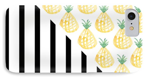 Pineapples And Stripes IPhone Case by Linda Woods