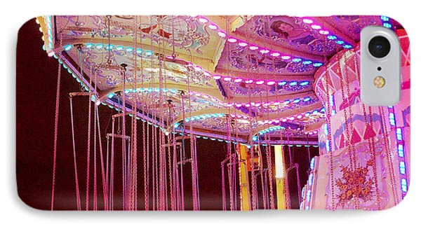 Pink Carnival Festival Ferris Wheel Night Ride Phone Case by Kathy Fornal