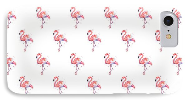 Pink Flamingo Watercolor Pattern IPhone 7 Case by Olga Shvartsur