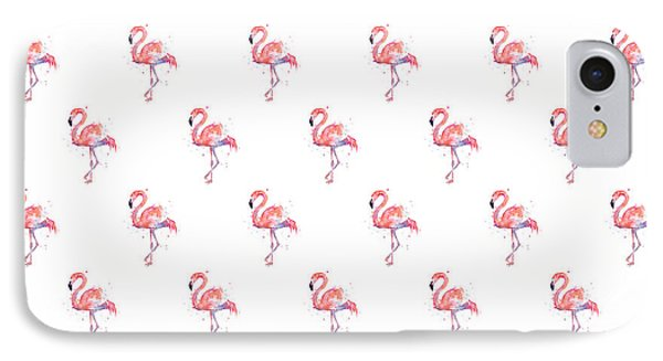 Pink Flamingo Watercolor Pattern IPhone Case by Olga Shvartsur