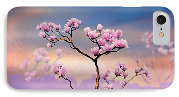 Pink Magnolia - Bright Version IPhone Case by Bedros Awak