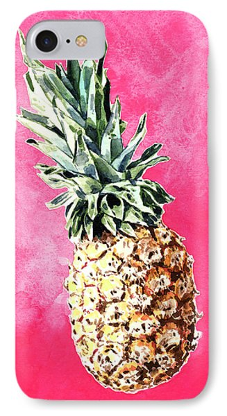 Pink Pineapple Bright Fruit Still Life Healthy Living Yoga Inspiration Tropical Island Kawaii Cute IPhone Case by Laura Row
