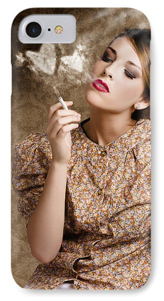 Pinup Portrait Of A Smoking Woman Blowing Hearts IPhone Case by Jorgo Photography - Wall Art Gallery