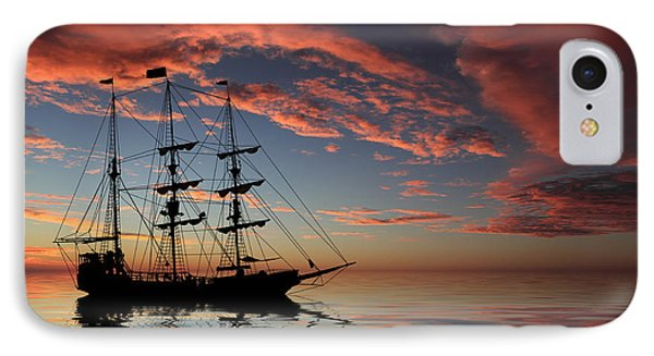Pirate Ship At Sunset Phone Case by Shane Bechler