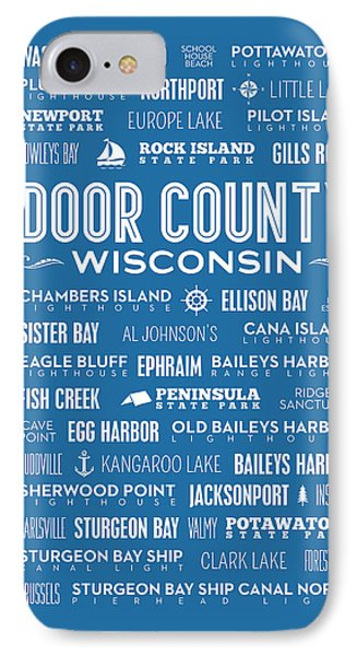 Places Of Door County On Blue IPhone Case by Christopher Arndt
