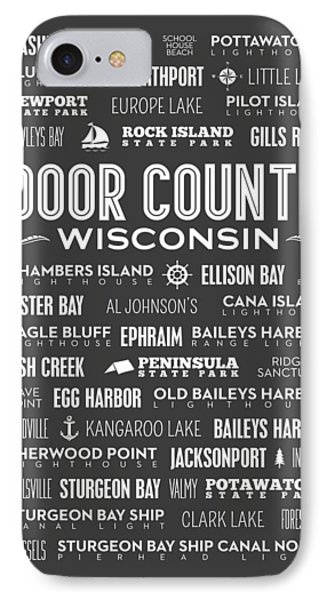 Places Of Door County On Gray IPhone Case by Christopher Arndt