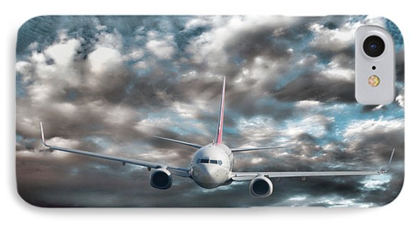 Plane In Storm IPhone Case by Olivier Le Queinec