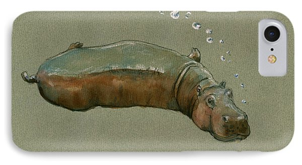 Playing Hippo IPhone 7 Case by Juan  Bosco