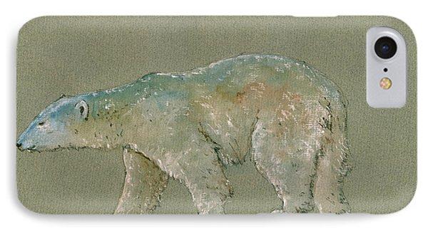Polar Bear Original Watercolor Painting Art IPhone Case by Juan  Bosco