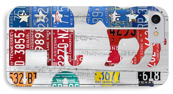 Political Party Election Vote Republican Vs Democrat Recycled Vintage Patriotic License Plate Art IPhone Case by Design Turnpike
