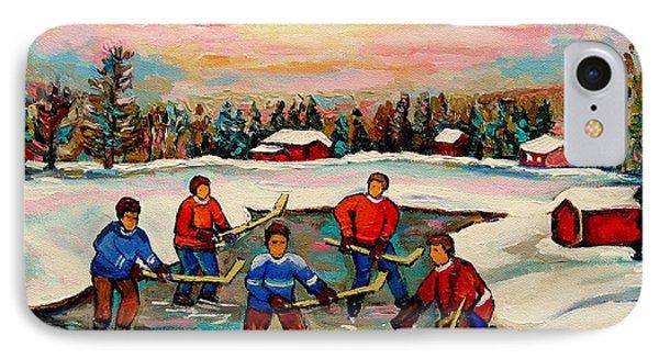 Pond Hockey Countryscene IPhone Case by Carole Spandau