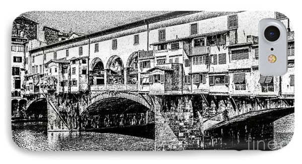Ponte Vecchio Florence Sketch IPhone Case by Edward Fielding