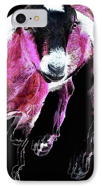 Pop Art Goat - Pink - Sharon Cummings IPhone Case by Sharon Cummings