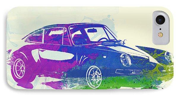 Porsche 911 Watercolor IPhone Case by Naxart Studio