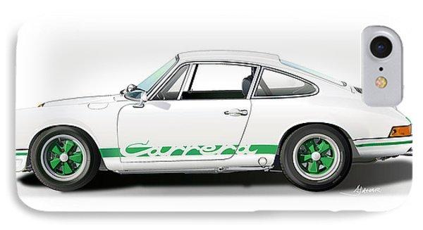 Porsche Carrera Rs Illustration IPhone Case by Alain Jamar