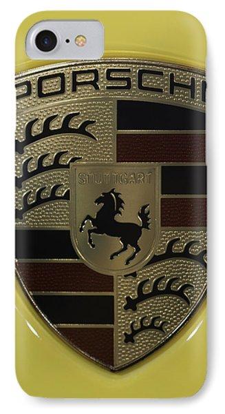 Porsche Emblem On Racing Yellow IPhone Case by Sebastian Musial