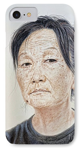 Portrait Of A Chinese Woman With A Mole On Her Chin IPhone Case by Jim Fitzpatrick