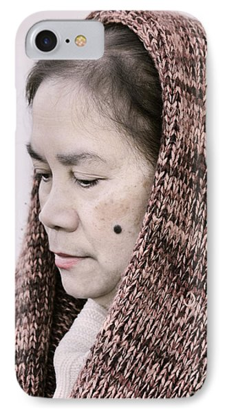 Portrait Of A Filipina With A Mole On Her Cheek And Wearing A Knitted Scarf  IPhone Case by Jim Fitzpatrick