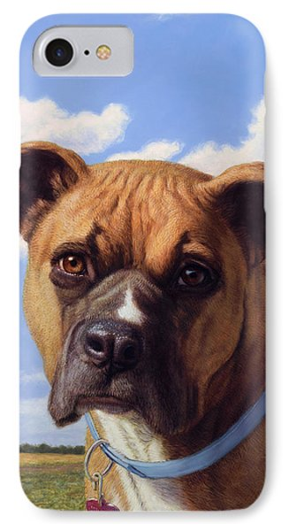Portrait Of A Sweet Boxer IPhone Case by James W Johnson