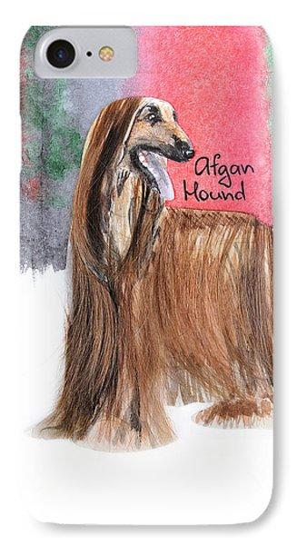 Watercolor Postcard Dogs Afgan Hound IPhone Case by Maryna Lievshyna