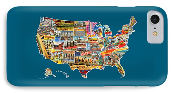 Postcards Of The United States Vintage Usa All 50 States Map IPhone Case by Design Turnpike