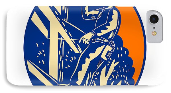 Power Lineman Electrician Post Helllo Oval Woodcut IPhone Case by Aloysius Patrimonio