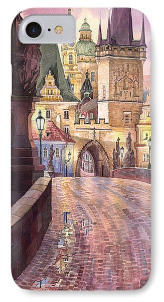 Prague Charles Bridge Night Light 1 IPhone Case by Yuriy  Shevchuk