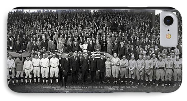 President Coolidge And The Washington A.l. And New York N.l. World's Series Baseball Teams IPhone Case by Panoramic Images