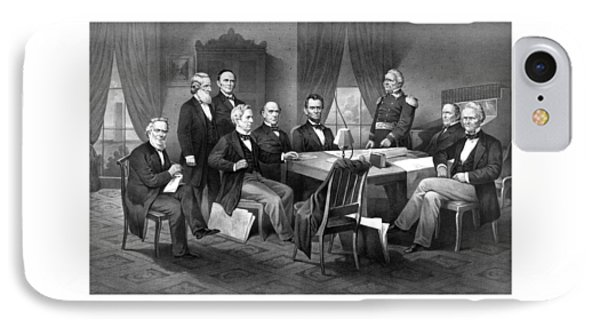 President Lincoln His Cabinet And General Scott IPhone 7 Case by War Is Hell Store