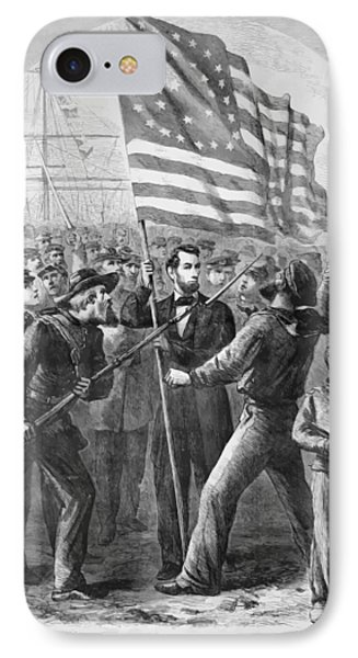 President Lincoln Holding The American Flag IPhone Case by War Is Hell Store