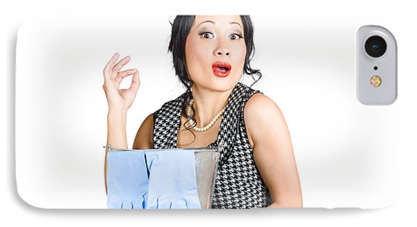 Pretty Asian Lady Giving Ok Gesture To Clean IPhone Case by Jorgo Photography - Wall Art Gallery