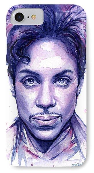 Prince Purple Watercolor IPhone 7 Case by Olga Shvartsur