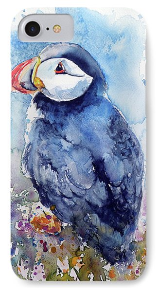 Puffin With Flowers IPhone 7 Case by Kovacs Anna Brigitta